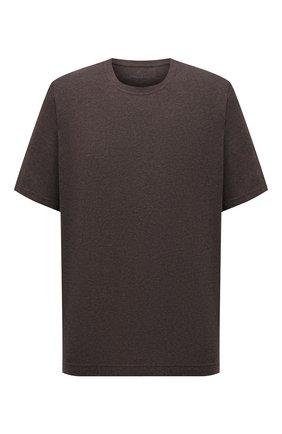 Мужская футболка из хлопка и кашемира CAPOBIANCO коричневого цвета, арт. 11M660.WS00./58-60 | Фото 1 (Материал внешний: Хлопок; Рукава: Короткие; Длина (для топов): Стандартные; Принт: Без принта; Стили: Кэжуэл; Big sizes: Big Sizes)