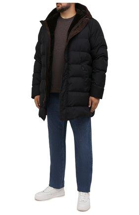 Мужская футболка из хлопка и кашемира CAPOBIANCO коричневого цвета, арт. 11M660.WS00./58-60 | Фото 2 (Материал внешний: Хлопок; Рукава: Короткие; Длина (для топов): Стандартные; Принт: Без принта; Стили: Кэжуэл; Big sizes: Big Sizes)