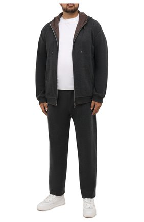 Мужской хлопковый спортивный костюм MOORER серого цвета, арт. SF-N0RCIA TUTA-CAD/M0UMA100059-TEPA308/60-68 | Фото 1 (Big sizes: Big Sizes; Рукава: Длинные; Кросс-КТ: Спорт; Материал внешний: Хлопок)