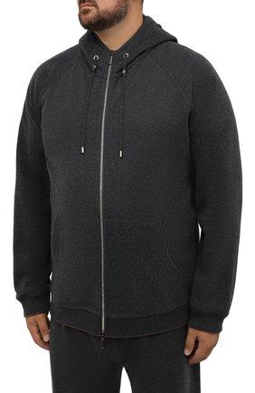 Мужской хлопковый спортивный костюм MOORER серого цвета, арт. SF-N0RCIA TUTA-CAD/M0UMA100059-TEPA308/60-68 | Фото 2 (Big sizes: Big Sizes; Рукава: Длинные; Кросс-КТ: Спорт; Материал внешний: Хлопок)