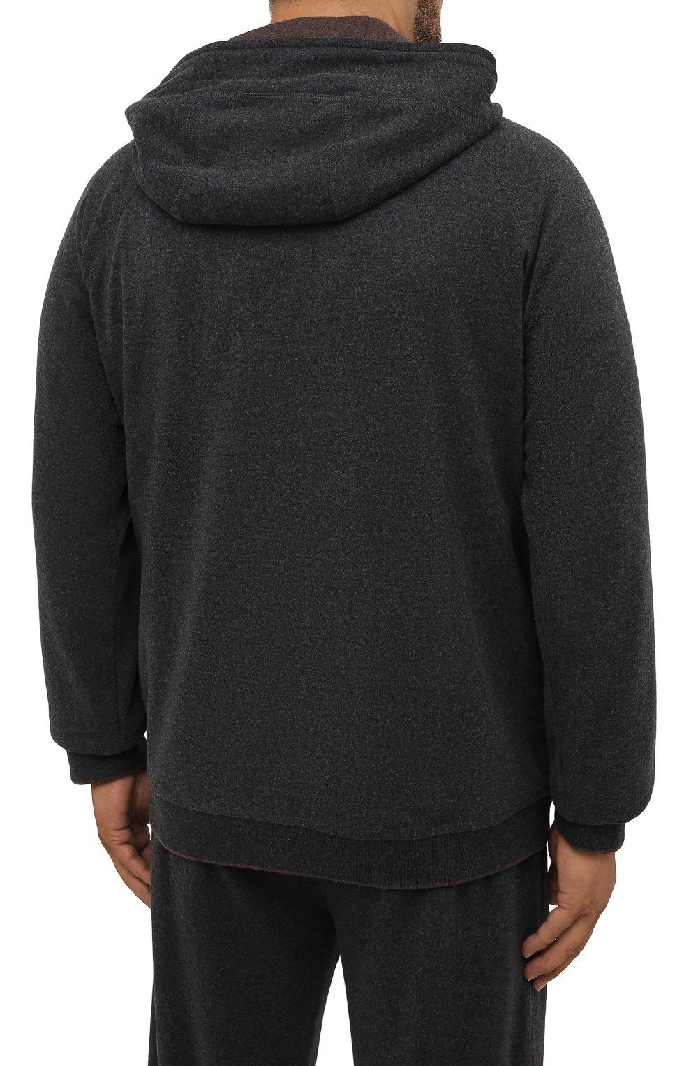 Мужской хлопковый спортивный костюм MOORER серого цвета, арт. SF-N0RCIA TUTA-CAD/M0UMA100059-TEPA308/60-68 | Фото 3 (Big sizes: Big Sizes; Рукава: Длинные; Кросс-КТ: Спорт; Материал внешний: Хлопок)