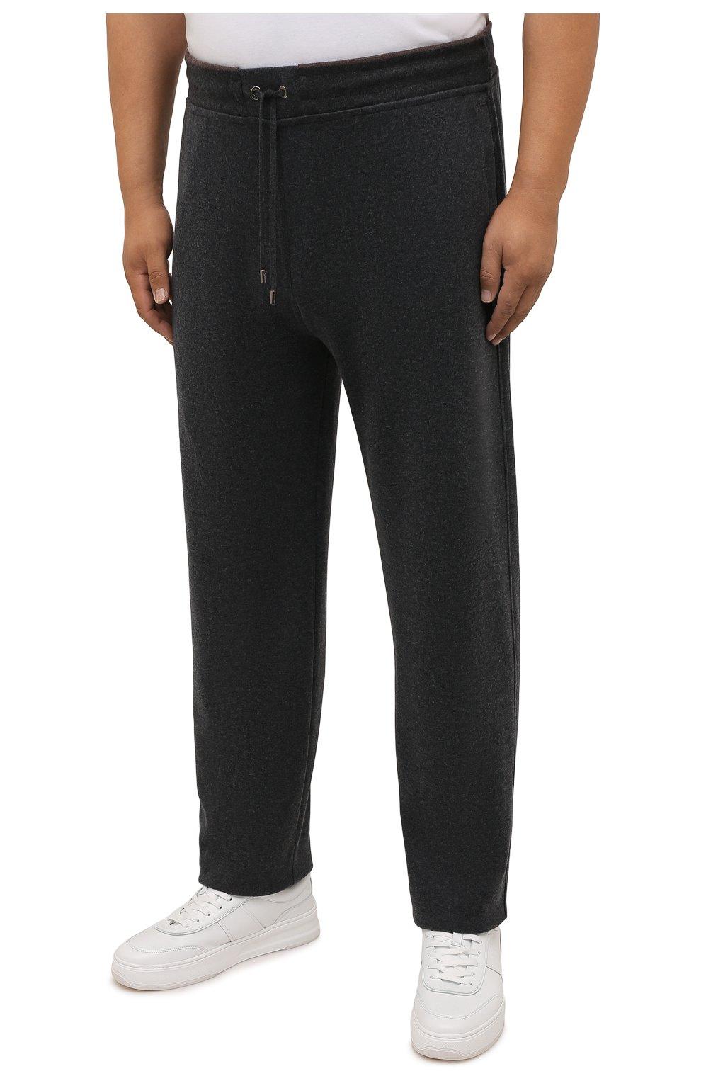 Мужской хлопковый спортивный костюм MOORER серого цвета, арт. SF-N0RCIA TUTA-CAD/M0UMA100059-TEPA308/60-68 | Фото 4 (Big sizes: Big Sizes; Рукава: Длинные; Кросс-КТ: Спорт; Материал внешний: Хлопок)