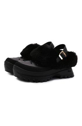 Женские сандалии trace fff STELLA MCCARTNEY черного цвета, арт. 800391/N0245 | Фото 1 (Материал внешний: Экокожа; Материал внутренний: Текстиль; Подошва: Платформа; Каблук высота: Низкий)