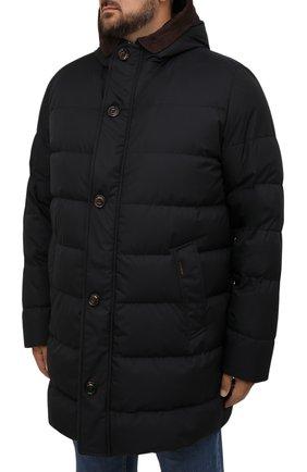 Мужская пуховик с меховой подкладкой vezzoli-gf MOORER темно-синего цвета, арт. VEZZ0LI-GF/M0UPI100006-TEPA012/60-68 | Фото 3 (Кросс-КТ: Куртка; Big sizes: Big Sizes; Мужское Кросс-КТ: пуховик-короткий; Рукава: Длинные; Длина (верхняя одежда): До середины бедра; Материал внешний: Синтетический материал; Материал утеплителя: Пух и перо; Стили: Кэжуэл)