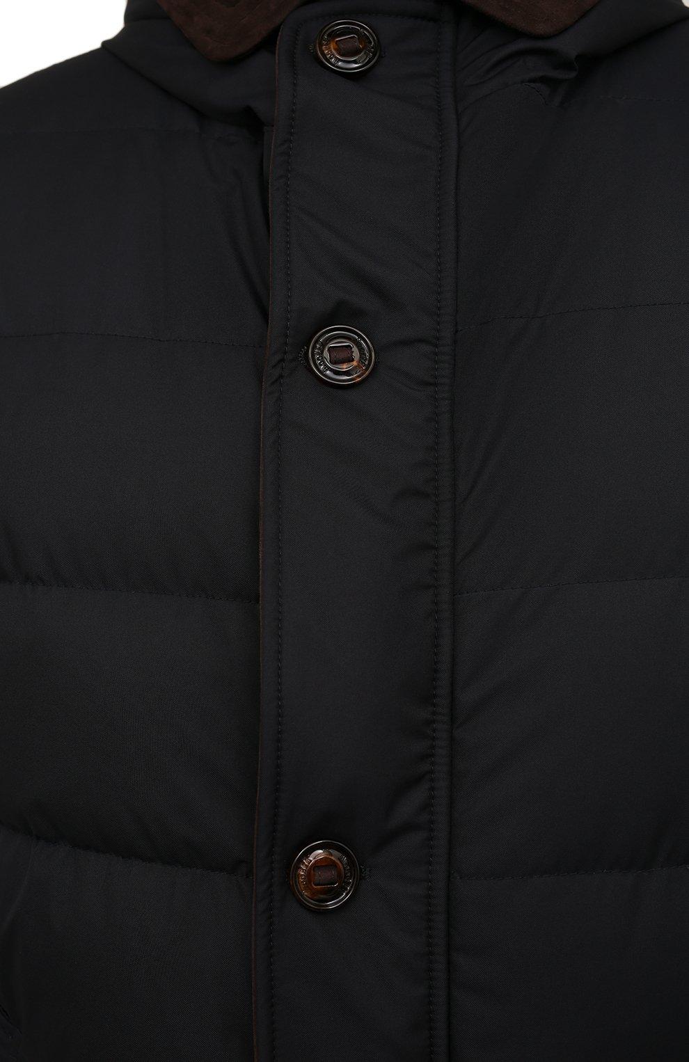 Мужская пуховик с меховой подкладкой vezzoli-gf MOORER темно-синего цвета, арт. VEZZ0LI-GF/M0UPI100006-TEPA012/60-68 | Фото 5 (Кросс-КТ: Куртка; Big sizes: Big Sizes; Мужское Кросс-КТ: пуховик-короткий; Рукава: Длинные; Длина (верхняя одежда): До середины бедра; Материал внешний: Синтетический материал; Материал утеплителя: Пух и перо; Стили: Кэжуэл)