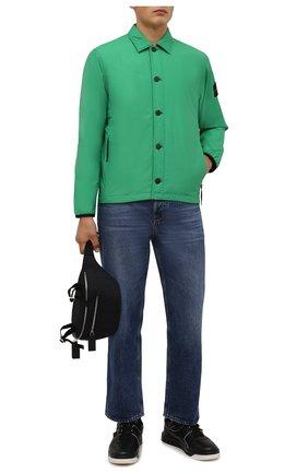 Мужская утепленная куртка STONE ISLAND зеленого цвета, арт. 751511525 | Фото 2 (Длина (верхняя одежда): Короткие; Материал внешний: Хлопок, Синтетический материал; Материал подклада: Синтетический материал; Рукава: Длинные; Кросс-КТ: Куртка; Мужское Кросс-КТ: утепленные куртки; Стили: Кэжуэл)