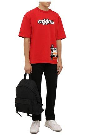 Мужская хлопковая футболка HERON PRESTON красного цвета, арт. HMAA025F21JER0022501 | Фото 2 (Материал внешний: Хлопок; Рукава: Короткие; Длина (для топов): Стандартные; Принт: С принтом; Стили: Гранж)