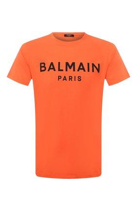 Мужская хлопковая футболка BALMAIN оранжевого цвета, арт. WH0EF000/B151 | Фото 1 (Длина (для топов): Стандартные; Материал внешний: Хлопок; Рукава: Короткие; Принт: С принтом; Стили: Кэжуэл)