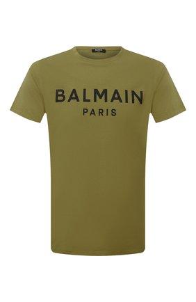 Мужская хлопковая футболка BALMAIN хаки цвета, арт. WH0EF000/B151   Фото 1 (Материал внешний: Хлопок; Принт: С принтом; Стили: Кэжуэл; Рукава: Короткие; Длина (для топов): Стандартные)