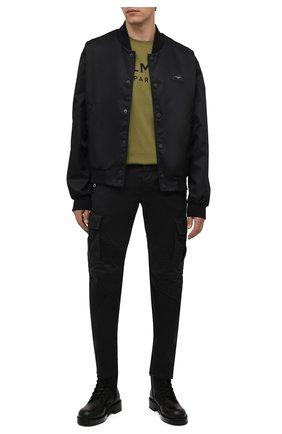 Мужская хлопковая футболка BALMAIN хаки цвета, арт. WH0EF000/B151   Фото 2 (Материал внешний: Хлопок; Принт: С принтом; Стили: Кэжуэл; Рукава: Короткие; Длина (для топов): Стандартные)