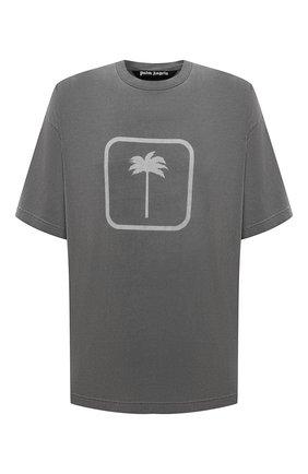 Мужская хлопковая футболка PALM ANGELS серого цвета, арт. PMAA066F21JER0041010 | Фото 1 (Длина (для топов): Удлиненные; Материал внешний: Хлопок; Рукава: Короткие; Принт: С принтом; Стили: Гранж)