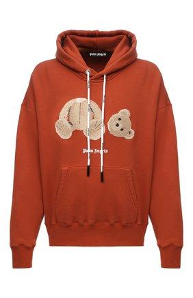 Мужской хлопковое худи PALM ANGELS оранжевого цвета, арт. PMBB058F21FLE0072760 | Фото 1 (Рукава: Длинные; Материал внешний: Хлопок; Длина (для топов): Стандартные; Мужское Кросс-КТ: Худи-одежда; Принт: С принтом; Стили: Спорт-шик)