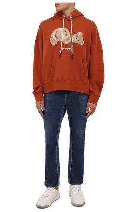 Мужской хлопковое худи PALM ANGELS оранжевого цвета, арт. PMBB058F21FLE0072760 | Фото 2 (Рукава: Длинные; Материал внешний: Хлопок; Длина (для топов): Стандартные; Мужское Кросс-КТ: Худи-одежда; Принт: С принтом; Стили: Спорт-шик)
