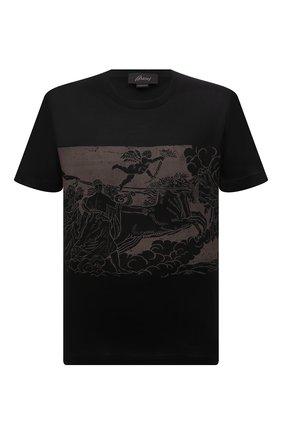 Мужская хлопковая футболка BRIONI черного цвета, арт. UJCH0L/01646 | Фото 1 (Материал внешний: Хлопок; Рукава: Короткие; Принт: С принтом; Стили: Кэжуэл; Длина (для топов): Стандартные)