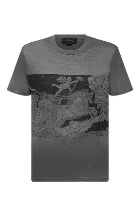 Мужская хлопковая футболка BRIONI серого цвета, арт. UJCH0L/01646 | Фото 1 (Материал внешний: Хлопок; Рукава: Короткие; Принт: С принтом; Стили: Кэжуэл; Длина (для топов): Стандартные)
