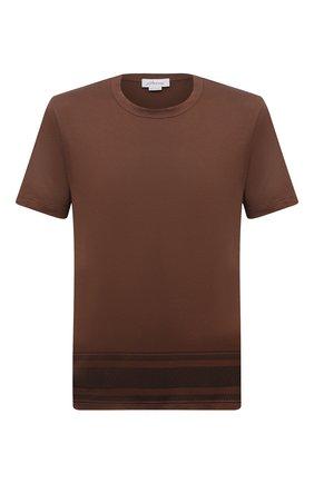 Мужская хлопковая футболка BRIONI коричневого цвета, арт. UJIT0L/01625 | Фото 1 (Материал внешний: Хлопок; Длина (для топов): Стандартные; Рукава: Короткие; Принт: С принтом; Стили: Кэжуэл)