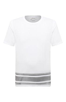 Мужская хлопковая футболка BRIONI белого цвета, арт. UJIT0L/01625 | Фото 1 (Материал внешний: Хлопок; Рукава: Короткие; Принт: С принтом; Стили: Кэжуэл; Длина (для топов): Стандартные)