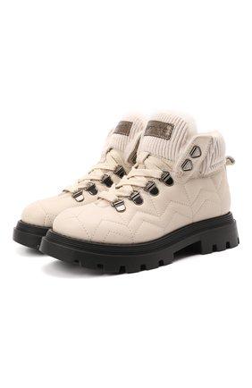 Детские кожаные ботинки JARRETT кремвого цвета, арт. JE3TR13A/SAVANA NEXT/28-34 | Фото 1 (Материал утеплителя: Натуральный мех)