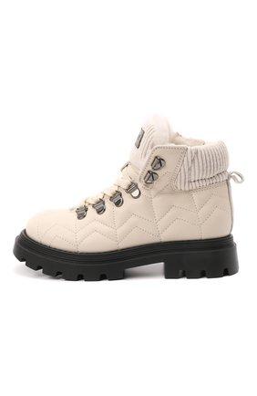 Детские кожаные ботинки JARRETT кремвого цвета, арт. JE3TR13A/SAVANA NEXT/28-34 | Фото 2 (Материал утеплителя: Натуральный мех)