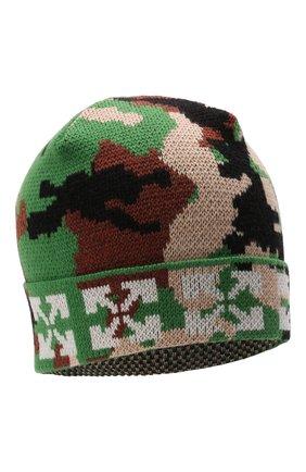 Детского шерстяная шапка OFF-WHITE хаки цвета, арт. 0BLC002F21KNI001 | Фото 1 (Материал: Шерсть)