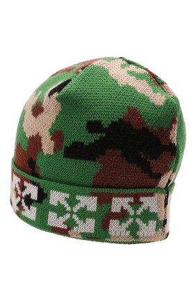 Детского шерстяная шапка OFF-WHITE хаки цвета, арт. 0BLC002F21KNI001 | Фото 2 (Материал: Шерсть)