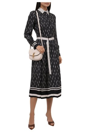 Женское шелковое платье LORO PIANA черно-белого цвета, арт. FAL7225 | Фото 2 (Материал подклада: Шелк; Длина Ж (юбки, платья, шорты): Миди; Рукава: Длинные; Материал внешний: Шелк; Стили: Гламурный; Случай: Повседневный; Женское Кросс-КТ: Платье-одежда)