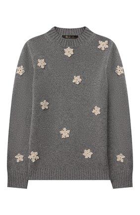 Детский кашемировый пуловер LORO PIANA серого цвета, арт. FAL4321 | Фото 1 (Материал внешний: Шерсть, Кашемир; Рукава: Длинные; Девочки Кросс-КТ: Пуловер-одежда)