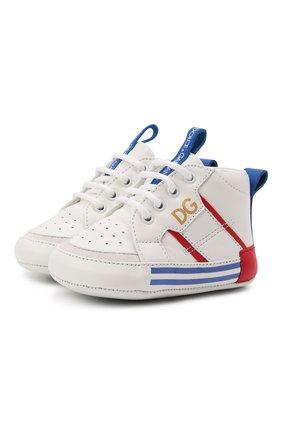 Детские кожаные кроссовки DOLCE & GABBANA белого цвета, арт. DK0131/AH628   Фото 1