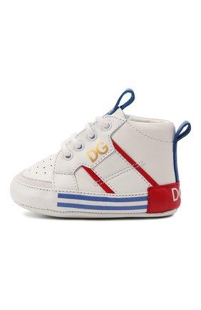 Детские кожаные кроссовки DOLCE & GABBANA белого цвета, арт. DK0131/AH628   Фото 2