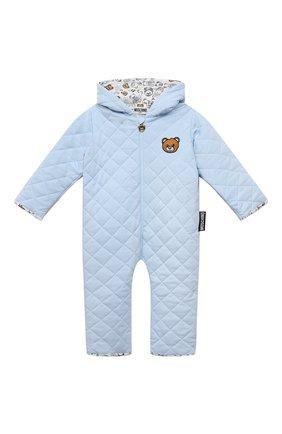 Детского хлопковый комбинезон MOSCHINO голубого цвета, арт. MUT028/LDA29 | Фото 1 (Материал внешний: Хлопок; Рукава: Длинные; Материал подклада: Хлопок; Ростовка одежда: 12 мес | 80 см)