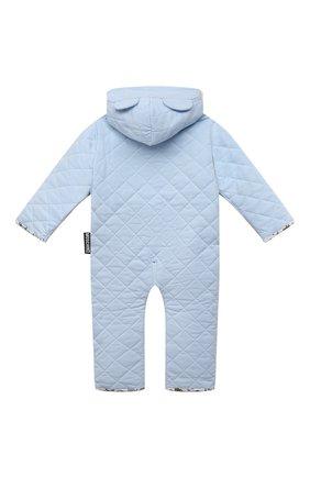 Детского хлопковый комбинезон MOSCHINO голубого цвета, арт. MUT028/LDA29 | Фото 2 (Материал внешний: Хлопок; Рукава: Длинные; Материал подклада: Хлопок; Ростовка одежда: 12 мес | 80 см)