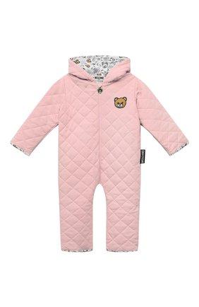 Детского хлопковый комбинезон MOSCHINO розового цвета, арт. MUT028/LDA29 | Фото 1 (Материал внешний: Хлопок; Рукава: Длинные; Материал подклада: Хлопок; Ростовка одежда: 12 мес | 80 см)