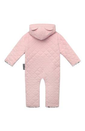 Детского хлопковый комбинезон MOSCHINO розового цвета, арт. MUT028/LDA29 | Фото 2 (Материал внешний: Хлопок; Рукава: Длинные; Материал подклада: Хлопок; Ростовка одежда: 12 мес | 80 см)