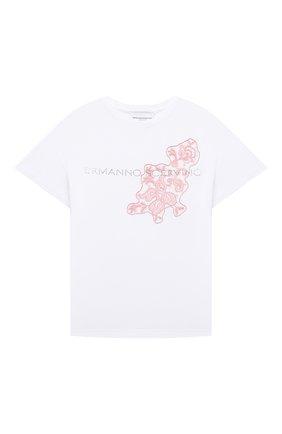 Детская хлопковая футболка ERMANNO SCERVINO белого цвета, арт. ESFTS021 JE95 YS006/XXS-S   Фото 1 (Рукава: Короткие; Материал внешний: Хлопок; Девочки Кросс-КТ: футболка-одежда)