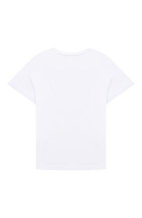 Детская хлопковая футболка ERMANNO SCERVINO белого цвета, арт. ESFTS021 JE95 YS006/XXS-S   Фото 2 (Рукава: Короткие; Материал внешний: Хлопок; Девочки Кросс-КТ: футболка-одежда)