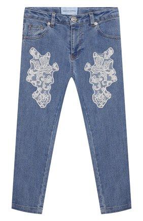 Детские джинсы ERMANNO SCERVINO голубого цвета, арт. ESFPA017 CE50 YSUNI/XXS-S   Фото 1 (Материал внешний: Хлопок, Синтетический материал; Кросс-КТ: джинсы)