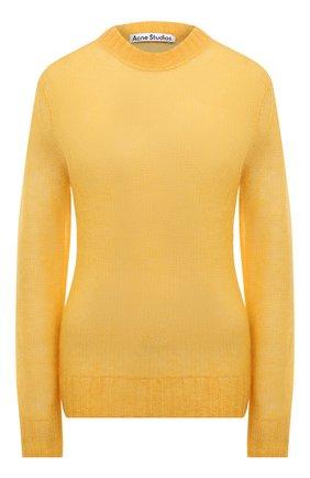Женский свитер ACNE STUDIOS желтого цвета, арт. A60285 | Фото 1 (Материал внешний: Шерсть, Синтетический материал; Стили: Минимализм; Длина (для топов): Стандартные; Женское Кросс-КТ: Свитер-одежда; Рукава: Длинные)