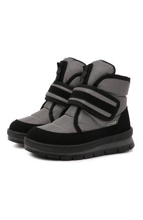 Детские утепленные ботинки JOG DOG серого цвета, арт. 13024R/TU0N0 REFLEX/23-28   Фото 1 (Материал внешний: Экокожа, Текстиль; Материал утеплителя: Шерсть)