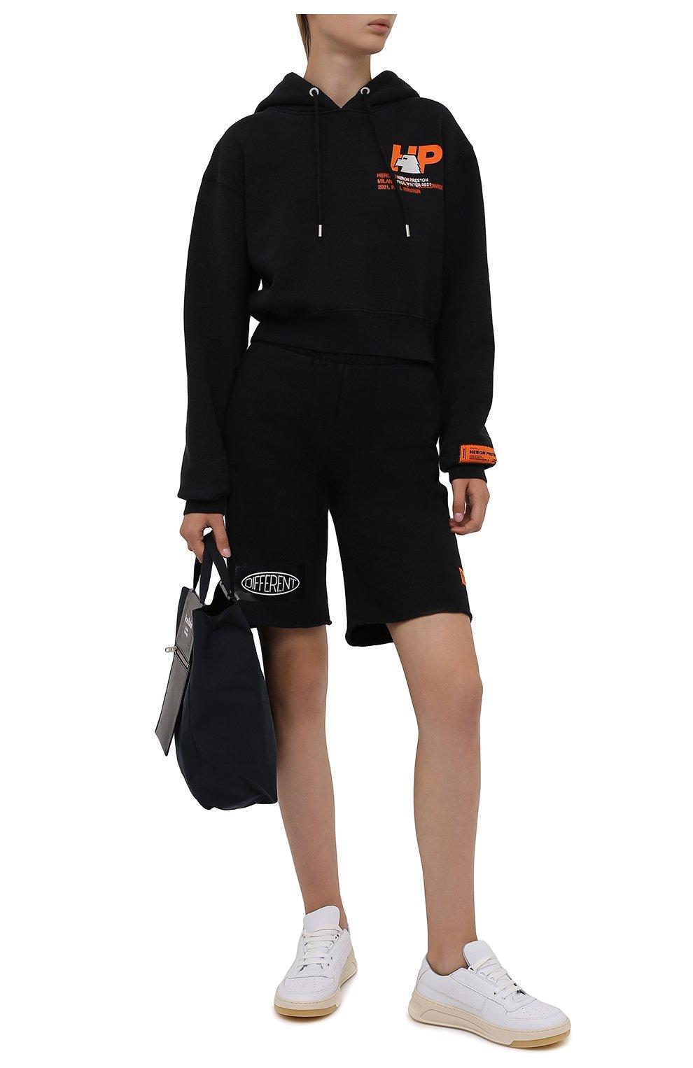 Женские хлопковые шорты HERON PRESTON черного цвета, арт. HWCI002F21JER0011001 | Фото 2 (Женское Кросс-КТ: Шорты-одежда; Длина Ж (юбки, платья, шорты): Мини; Кросс-КТ: Трикотаж; Материал внешний: Хлопок; Стили: Спорт-шик)