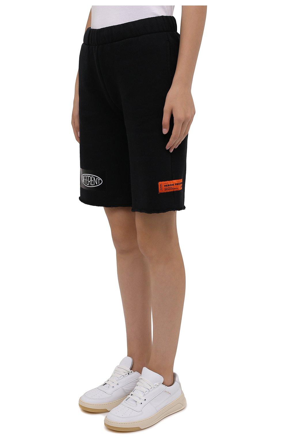 Женские хлопковые шорты HERON PRESTON черного цвета, арт. HWCI002F21JER0011001 | Фото 3 (Женское Кросс-КТ: Шорты-одежда; Длина Ж (юбки, платья, шорты): Мини; Кросс-КТ: Трикотаж; Материал внешний: Хлопок; Стили: Спорт-шик)
