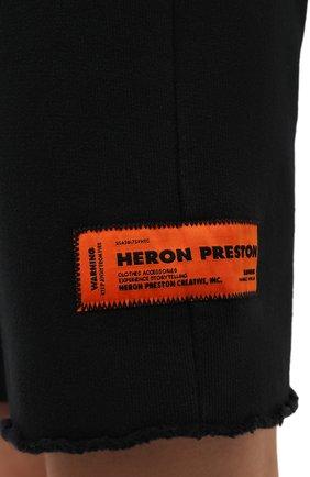 Женские хлопковые шорты HERON PRESTON черного цвета, арт. HWCI002F21JER0011001 | Фото 5 (Женское Кросс-КТ: Шорты-одежда; Длина Ж (юбки, платья, шорты): Мини; Кросс-КТ: Трикотаж; Материал внешний: Хлопок; Стили: Спорт-шик)