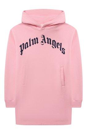 Детское хлопковое платье PALM ANGELS светло-розового цвета, арт. PGDB004F21FLE002   Фото 1 (Рукава: Длинные; Материал внешний: Хлопок; Девочки Кросс-КТ: Платье-одежда; Случай: Повседневный)