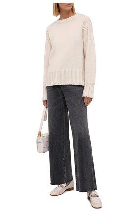 Женские джинсы SLVRLAKE серого цвета, арт. PF21/GRCJ707U/MNMN | Фото 2 (Материал внешний: Хлопок; Длина (брюки, джинсы): Стандартные; Стили: Кэжуэл; Кросс-КТ: Деним; Силуэт Ж (брюки и джинсы): Расклешенные)