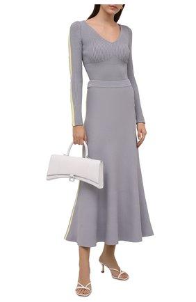 Женская юбка из вискозы LOEWE серого цвета, арт. S540Y17K40 | Фото 2 (Материал внешний: Вискоза; Длина Ж (юбки, платья, шорты): Миди; Стили: Кэжуэл; Кросс-КТ: Трикотаж)