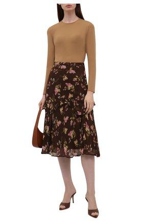 Женская юбка из вискозы POLO RALPH LAUREN коричневого цвета, арт. 211843118 | Фото 2 (Длина Ж (юбки, платья, шорты): Миди; Материал внешний: Вискоза; Материал подклада: Синтетический материал; Стили: Романтичный; Женское Кросс-КТ: Юбка-одежда)