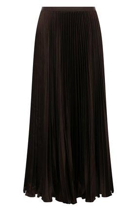 Женская плиссированная юбка POLO RALPH LAUREN коричневого цвета, арт. 211843120 | Фото 1 (Материал внешний: Синтетический материал; Длина Ж (юбки, платья, шорты): Миди; Стили: Кэжуэл; Женское Кросс-КТ: юбка-плиссе)