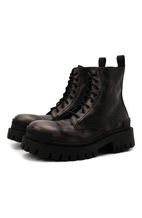 Женские кожаные ботинки strike BALENCIAGA темно-коричневого цвета, арт. 670632/WBCP1 | Фото 1 (Подошва: Платформа; Каблук высота: Низкий; Материал внутренний: Натуральная кожа; Женское Кросс-КТ: Военные ботинки)