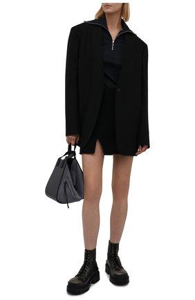 Женские кожаные ботинки strike BALENCIAGA темно-коричневого цвета, арт. 670632/WBCP1 | Фото 2 (Подошва: Платформа; Каблук высота: Низкий; Материал внутренний: Натуральная кожа; Женское Кросс-КТ: Военные ботинки)