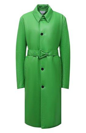 Женское кожаное пальто BOTTEGA VENETA зеленого цвета, арт. 668754/V16H0   Фото 1 (Длина (верхняя одежда): До колена; Рукава: Длинные; Материал подклада: Хлопок; Стили: Гламурный; 1-2-бортные: Однобортные)