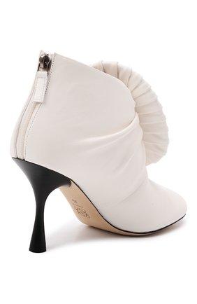Женские кожаные ботильоны LOEWE кремвого цвета, арт. L814286X10 | Фото 4 (Каблук высота: Высокий; Материал внутренний: Натуральная кожа; Каблук тип: Шпилька; Подошва: Плоская)
